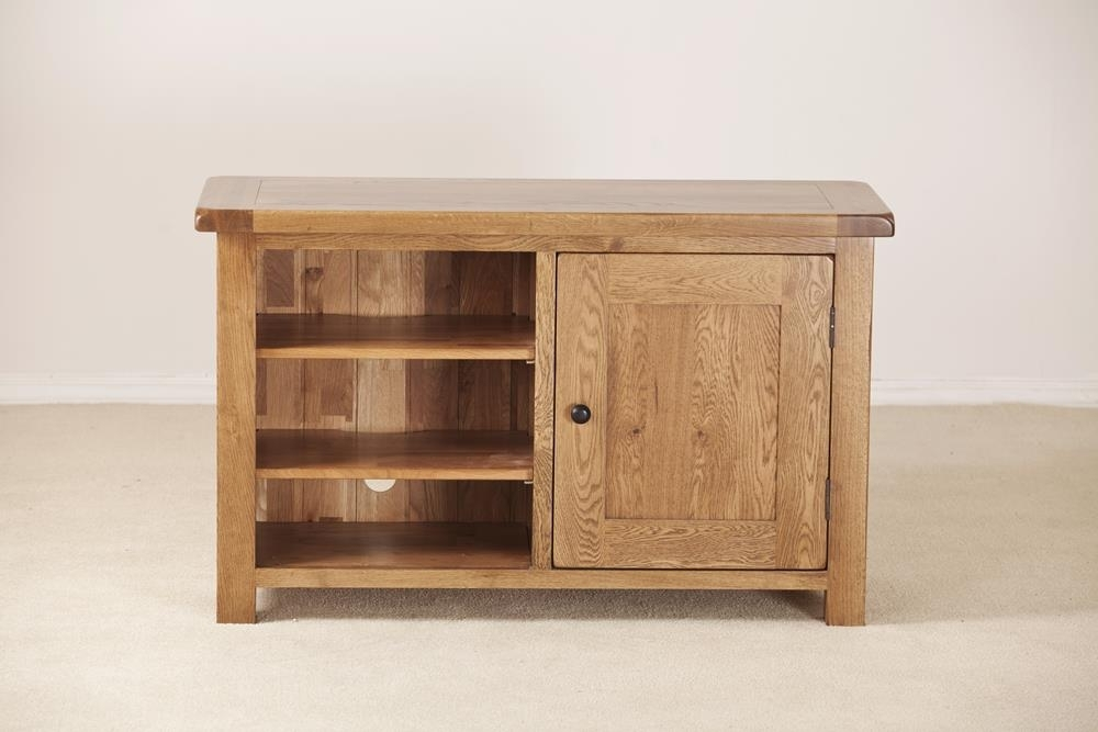 Clearance Half Price - Rustic Solid Oak 1 Door Standard TV Unit - New - 631