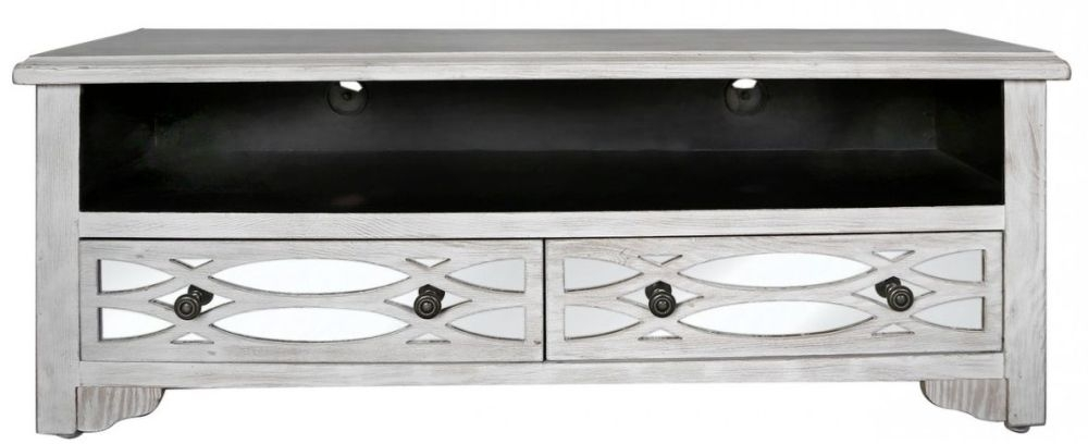 Clearance Verwood 2 Drawer Entertainment Unit Washed Ash and Mirror - 2013