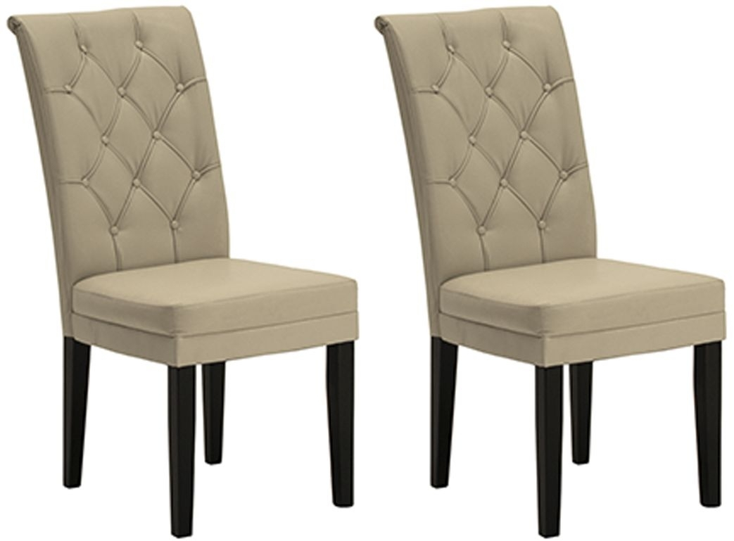 Clearance Vida Living Caprice Dining Chair Wenge Leg - Ivory (Pair) - A193