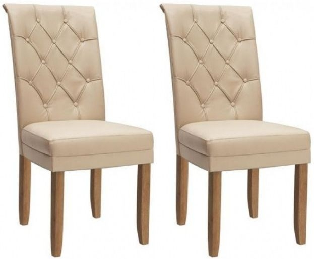 Vida Living Caprice Ivory Faux Leather Dining Chair with Oak Leg (Pair) - CL-A111