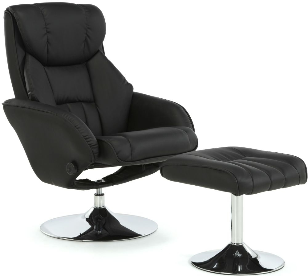 Serene Larvik Black Faux Leather Recliner Chair - CL-653