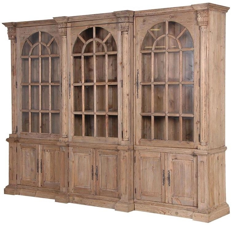 Clearance Colonial Reclaimed Pine Triple Bookcase X - Display