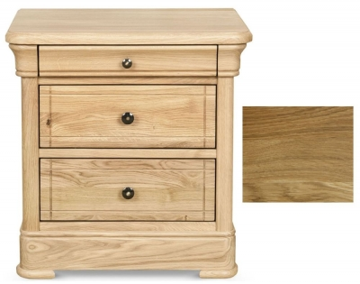 Clearance - Clemence Richard Moreno Oiled 3 Drawer Bedside Cabinet - New - E-827