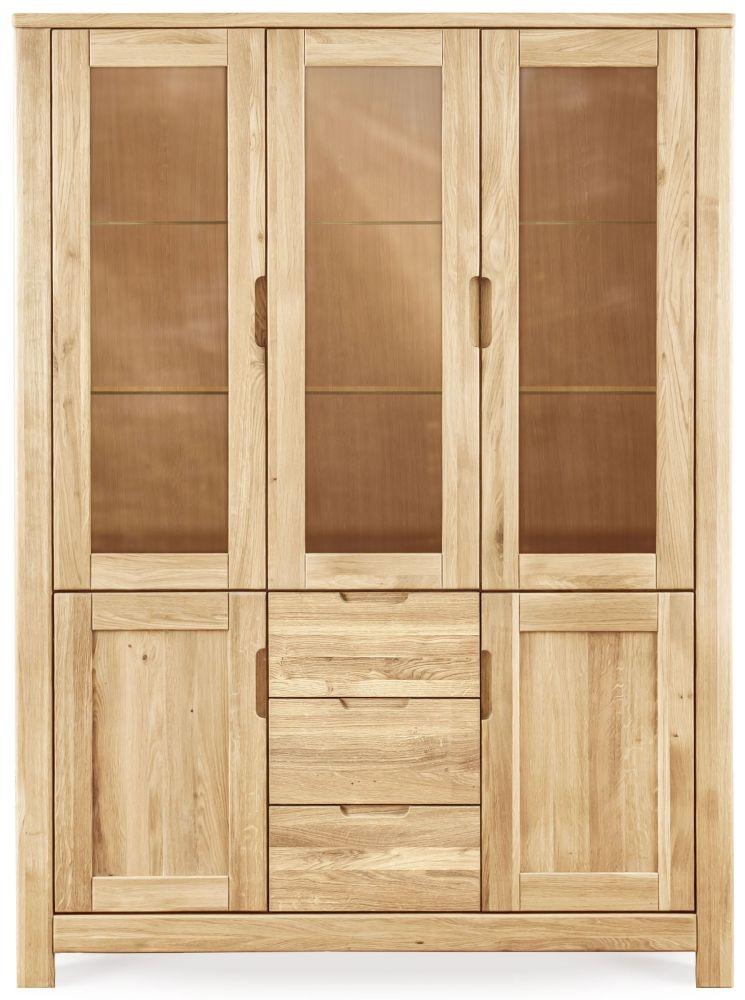 Clemence Richard Lyon Oak 5 Door 3 Drawer Tall Display Cabinet