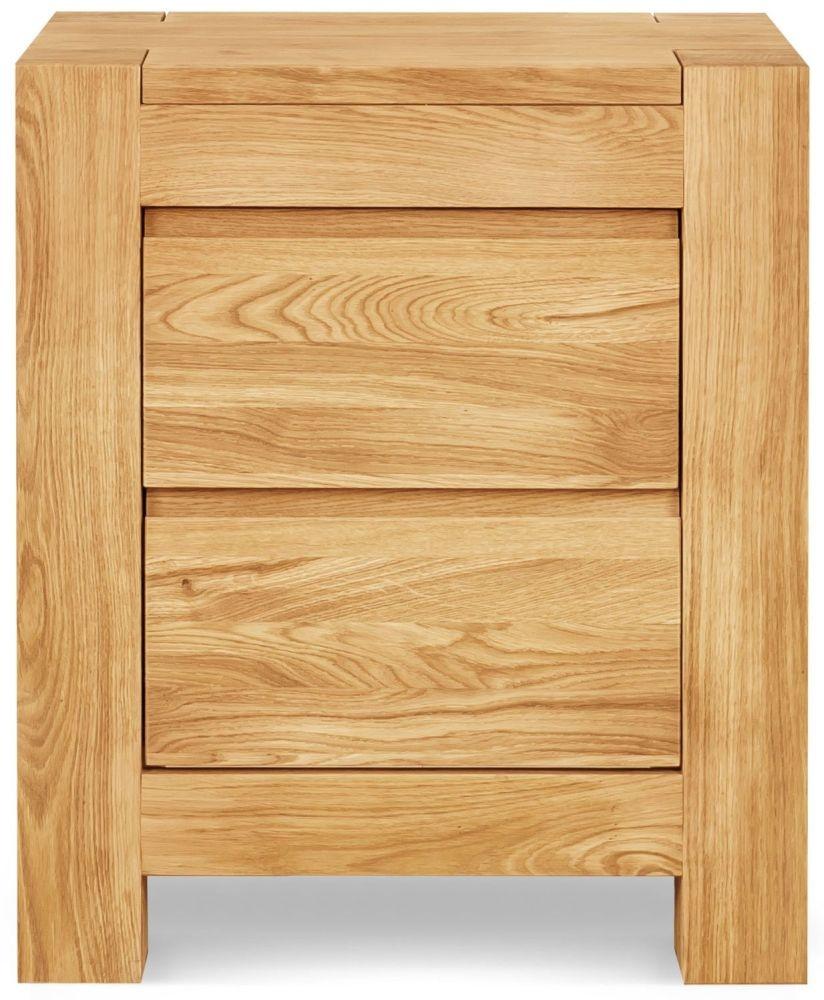 Clemence Richard Massive Oak 2 Drawer Bedside Cabinet