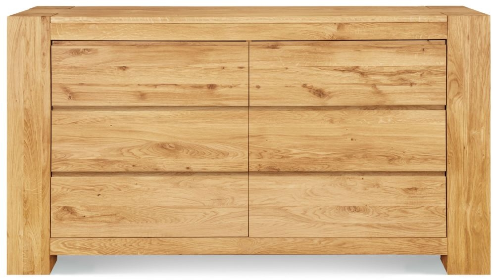Clemence Richard Massive Oak Wide 6 Drawer Chest of Drawer