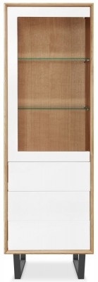 Clemence Richard Modena Oak 1 Door Tall Display Cabinet
