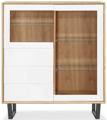 Clemence Richard Modena Oak 2 Door Combi Display Cabinet
