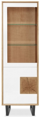 Clemence Richard Modena Oak 2 Door 1 Glass Door Tall Display Cabinet