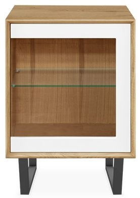 Clemence Richard Modena Oak 1 Door Glass Narrow Sideboard