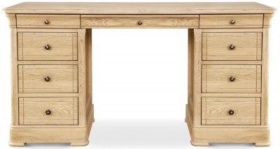 Clemence Richard Moreno Oak Double Pedestal Dressing Table