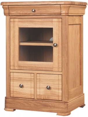 Clemence Richard Moreno Oak 2 Drawer CD and DVD Unit with Glass Door