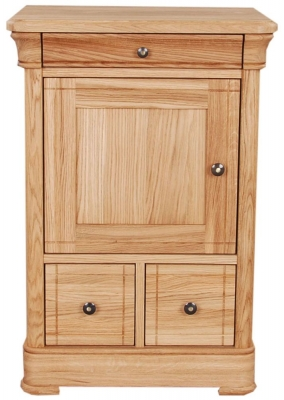 Clemence Richard Moreno Oak 2 Drawer CD and DVD Unit Wooden Door