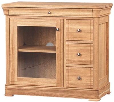 Clemence Richard Moreno Oak 3 Drawer CD and DVD Unit with Glass Door 556A