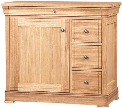 Clemence Richard Moreno Oak 3 Drawer CD and DVD Unit with Wooden Door 556B
