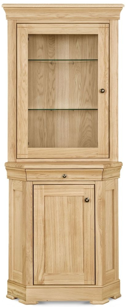 Clemence Richard Moreno Oak 2 Door Corner Display Cabinet