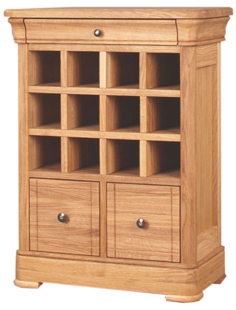 Clemence Richard Moreno Oak Small Wine Rack with 2 Drawers