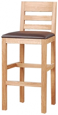 Clemence Richard Oak Bar Stool with Wooden Seat