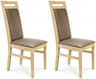 Clemence Richard Oak Leather Seat and Back Dining Chair (Pair) - 030