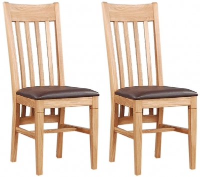Clemence Richard Oak Dining Chair with Leather Seat (Pair) 015