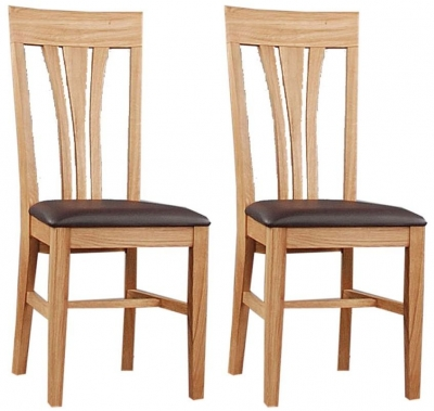 Clemence Richard Oak Dining Chair with Leather Seat (Pair) 019