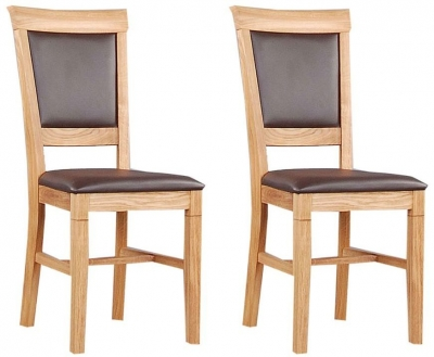 Clemence Richard Oak Dining Chair with Leather Seat (Pair) 020