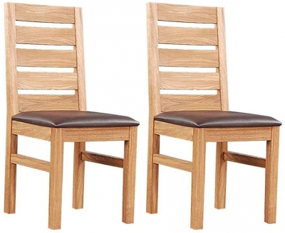 Clemence Richard Oak Dining Chair with Leather Seat (Pair) 026