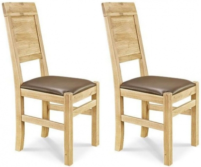 Clemence Richard Oak Dining Chair with Leather Seat (Pair) 018B