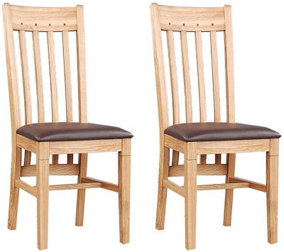 Clemence Richard Oak Dining Chair with Leather Seat and Walnut (Pair)