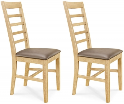 Clemence Richard Oak Leather Seat Dining Chair (Pair) - 001