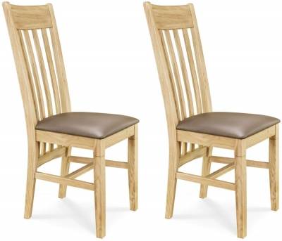 Clemence Richard Oak Leather Seat Dining Chair (Pair) - 015