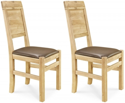 Clemence Richard Oak Leather Seat Dining Chair (Pair) - 018B