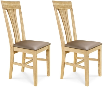 Clemence Richard Oak Leather Seat Dining Chair (Pair) - 019