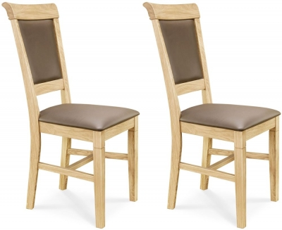 Clemence Richard Oak Leather Seat Dining Chair (Pair) - 020
