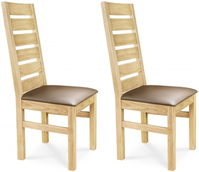 Clemence Richard Oak Leather Seat Dining Chair (Pair) - 028