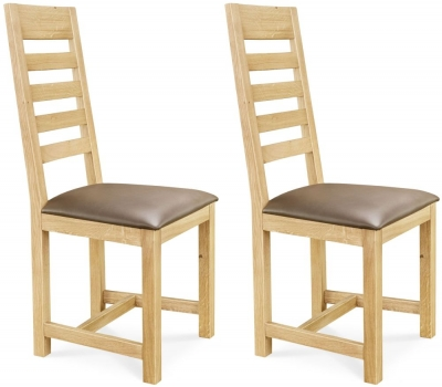 Clemence Richard Oak Leather Seat Dining Chair (Pair) - 004