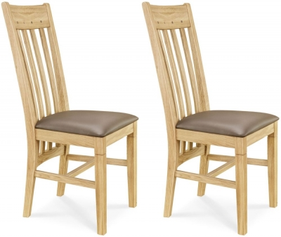 Clemence Richard Oak Leather Seat Dining Chair (Pair) - 017