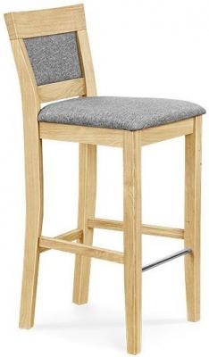 Clemence Richard Oak Fabric Seat Bar Chair