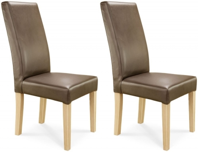 Clemence Richard Oak Upholstered Leather Dining Chair (Pair) - 028