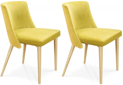Clemence Richard Oak Upholstered Fabric Dining Chair (Pair) - 036