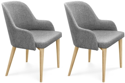 Clemence Richard Oak Upholstered Fabric Dining Chair (Pair) - 037