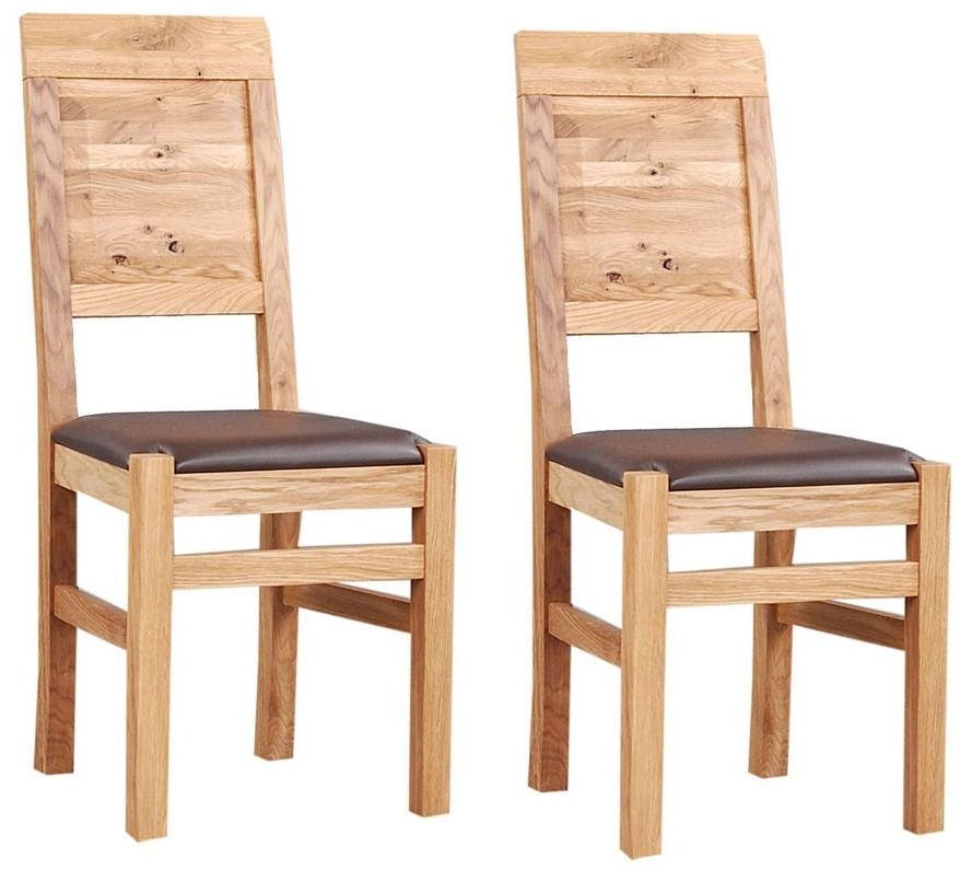 Clemence Richard Oak Dining Chair with Leather Seat (Pair) 018A