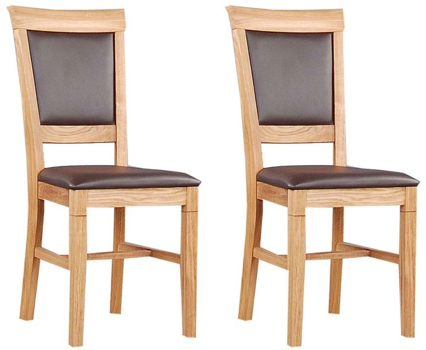 Clemence Richard Oak Dining Chair with Leather Seat (Pair)