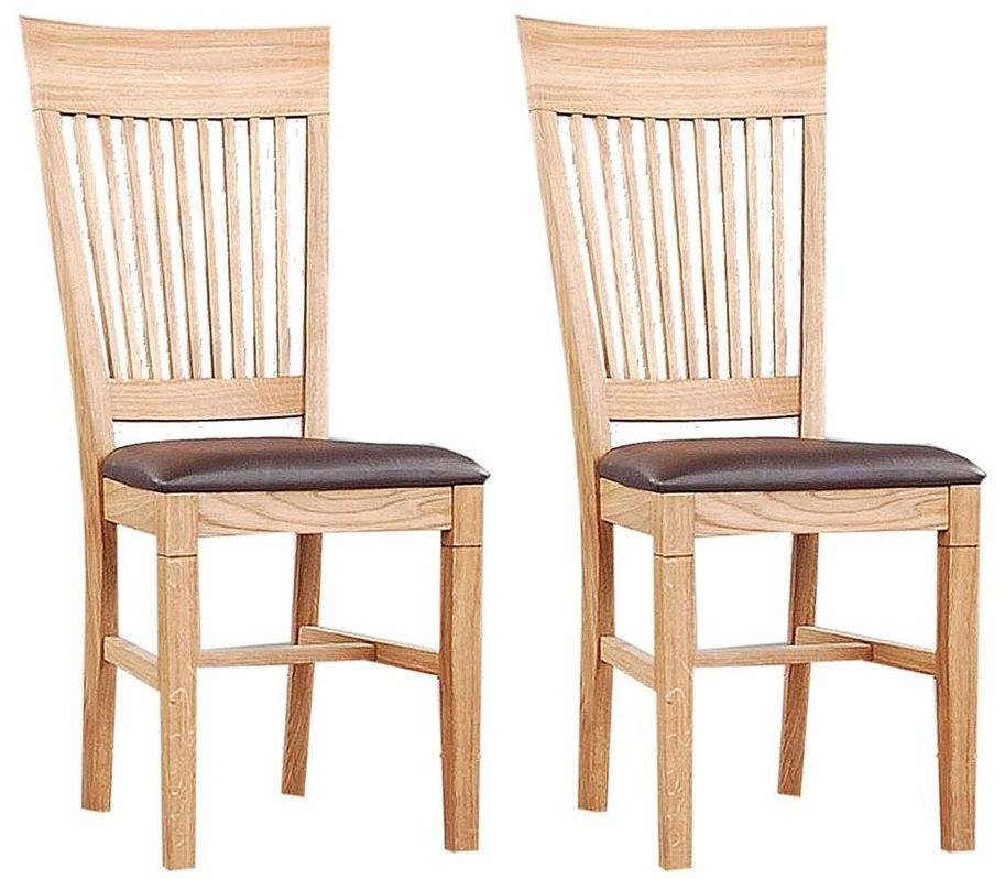 Clemence Richard Oak Dining Chair with Leather Seat (Pair) 021