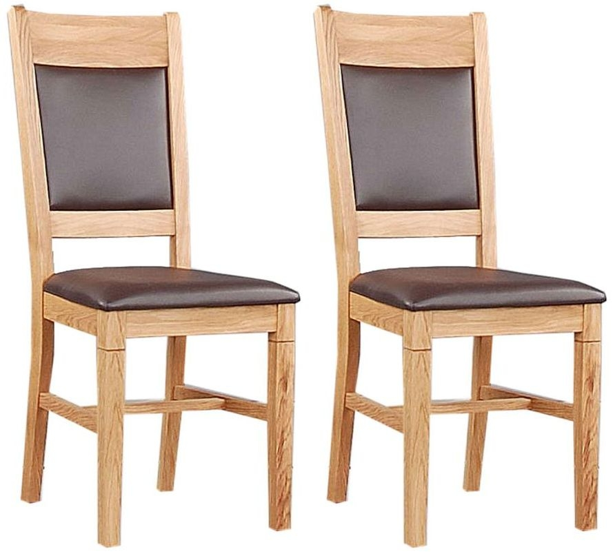 Clemence Richard Oak Dining Chair with Leather Seat and Back (Pair)