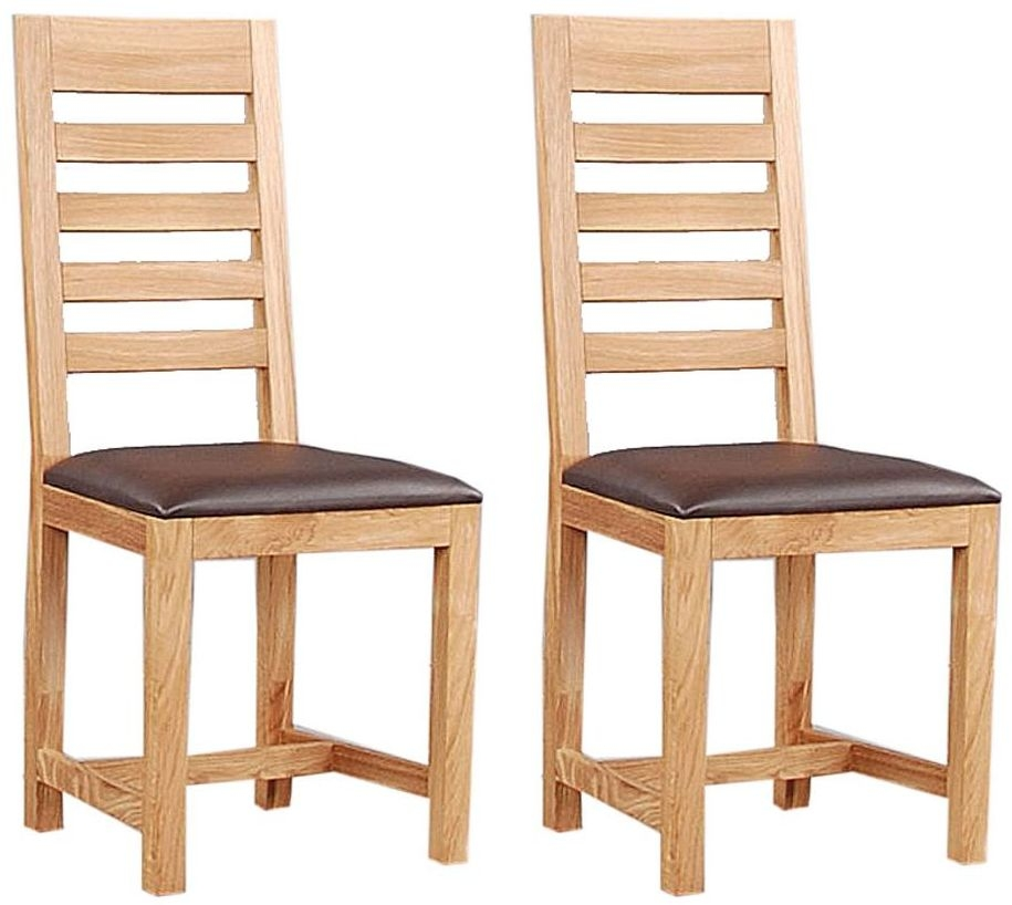 Clemence Richard Oak Dining Chair with Wooden Seat (Pair)
