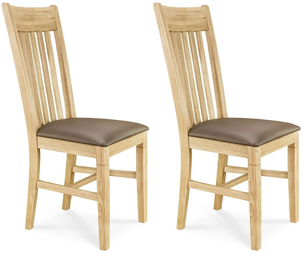 Clemence Richard Oak Leather Seat Dining Chair (Pair) - 016