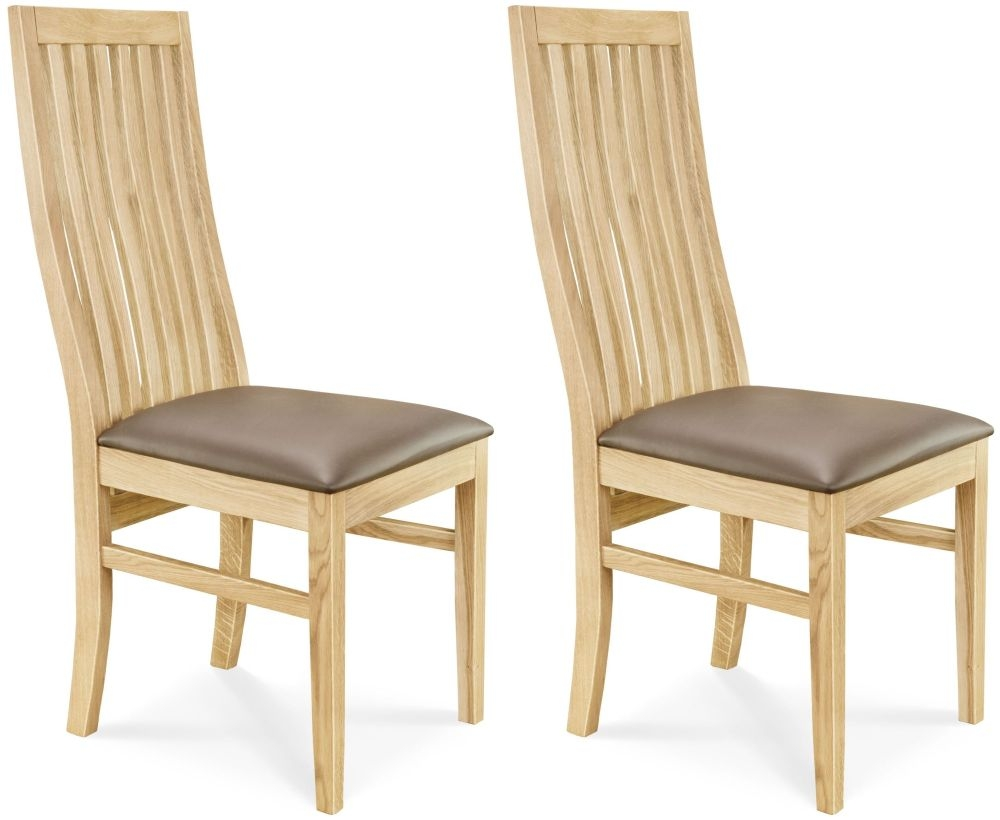 Clemence Richard Oak Leather Seat Dining Chair (Pair) - 029