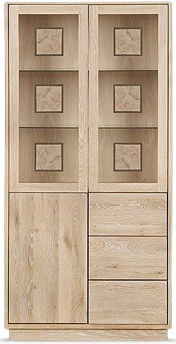 Clemence Richard Portofino Oak 3 Door Combi High Display Cabinet - 910C