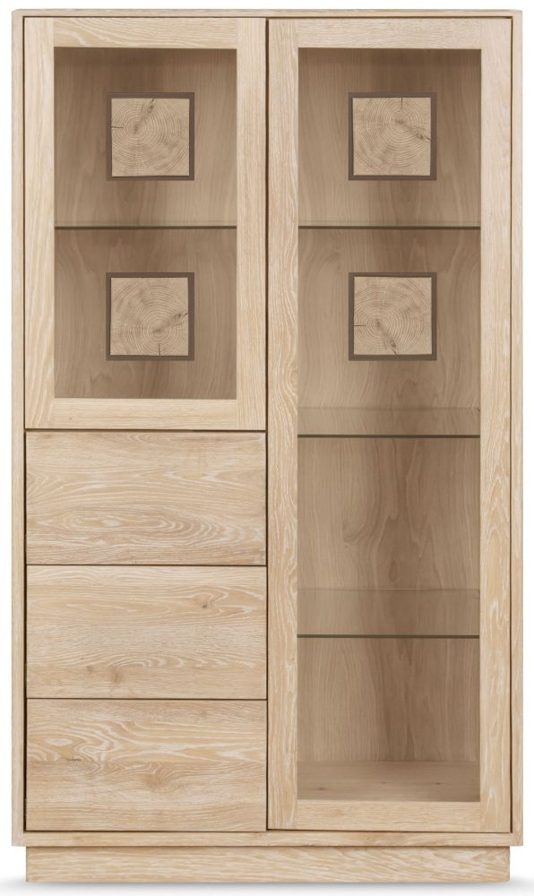 Clemence Richard Portofino Oak 2 Door Combi Display Cabinet - 900B
